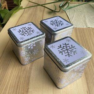 Set of 3 decorative snowflakes tin boxes (new)
